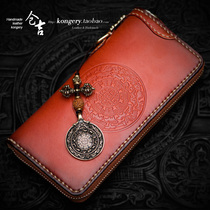 Cangji hand-made wallet mens long zippered wallet female cowhide clip retro vertical cloth leather clutch bag