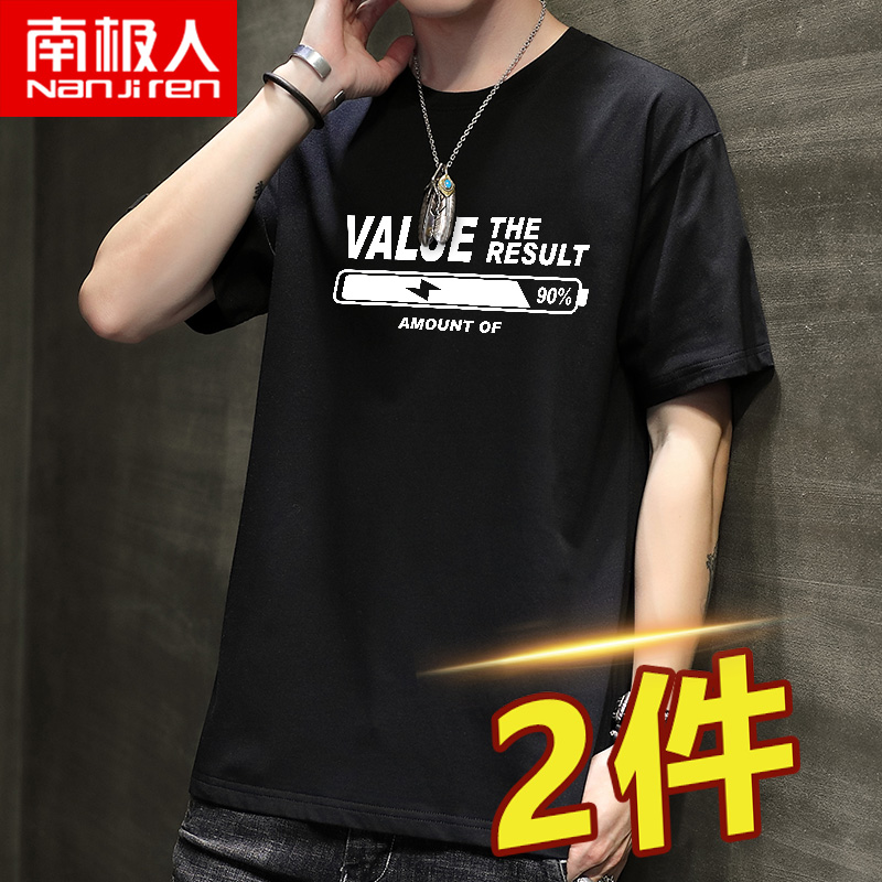 Short-sleeved mens tide loose large-size casual summer round-neck cotton T-shirt Hong Kong trend trend mens half-sleeves