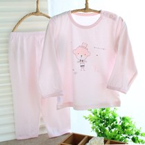 Baby underwear set bamboo fiber summer ultra-thin baby summer air conditioning clothing long sleeves 2-3-5 years old children pajamas
