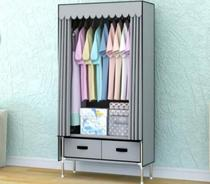 Simple cloth wardrobe assembly interior rental adults with single luxury gray steel tube fabric purple cute European