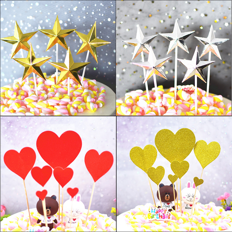 Birthday cake decoration card baking creative plug-in star love adult childrens party layout dress up card