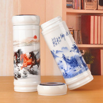 Jingdezhen ceramic double-layer teacourse Qinghua porcelain cup with lid Mens and womens water cup insulation cup.