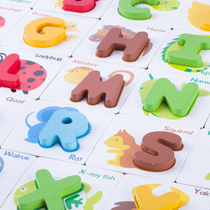 Childrens English alphanumeric pairing cognitive literacy card puzzle board baby early lesson puzzle wooden quality toys