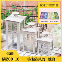 Simple retro iron glass windproof candlestand hanging hollow square candlestick floor wind lamp decoration ornaments
