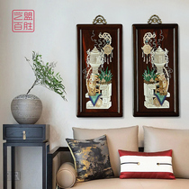 Art League Yum Laos big red acid branch screw hundred treasure embedded in the hall hanging screen Chinese-style redwood strip hanging painting decoration.