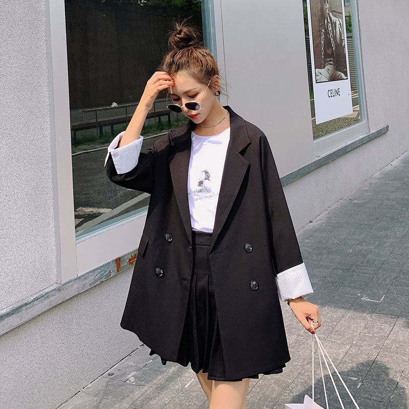 Black suit suit women fashion spring and autumn tide Korean version of 2021 new net red pleated skirt small suit