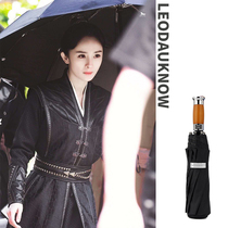 Yang Mi the same oversized wind protection UV umbrella three folding business men and women fully automatic sunny umbrella.