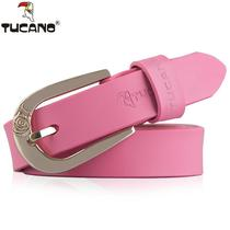 A hundred set of fashion decoration woodpecker lady belt womens thin belt womens leather simple Korean version of pure cowhide belt.