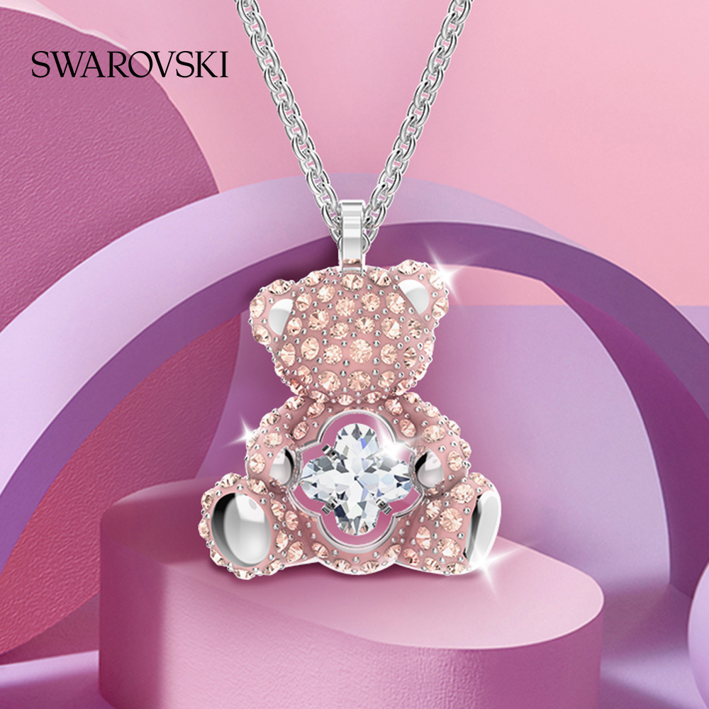 (New product) Swarova Sage TEDDY brilliant teddy bear heart-tinginged bear female necklace gift to girls