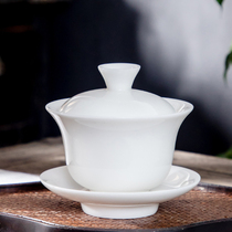 Dehua white porcelain handmade ceramic cover bowl tea cup large tea three only bowl Kung Fu tea bowl set home tea.