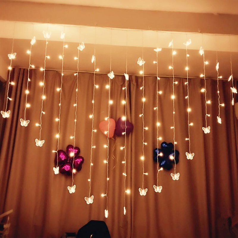 Love-shaped curtains flashing lights string light room arrangement romantic surprise proposal confession bedroom decoration starlight