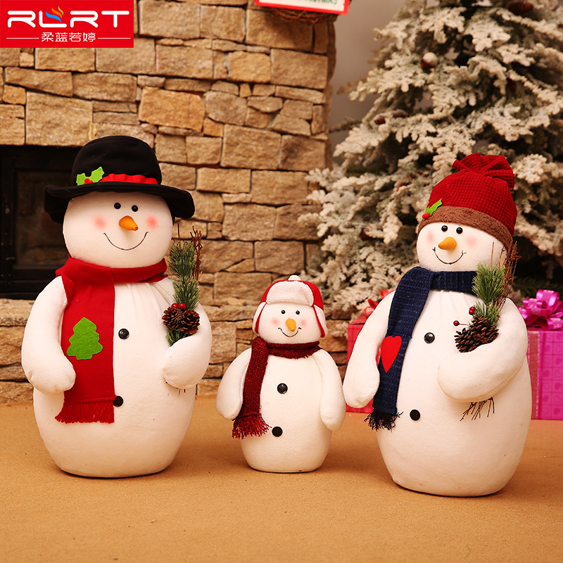 Soft blue ruo Christmas snowman dolls a family of three large scene window ornaments