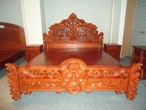Myanmar pear wood Lao big red acid branch european bed rose carved large bed mahogany bed manufacturers direct sales.