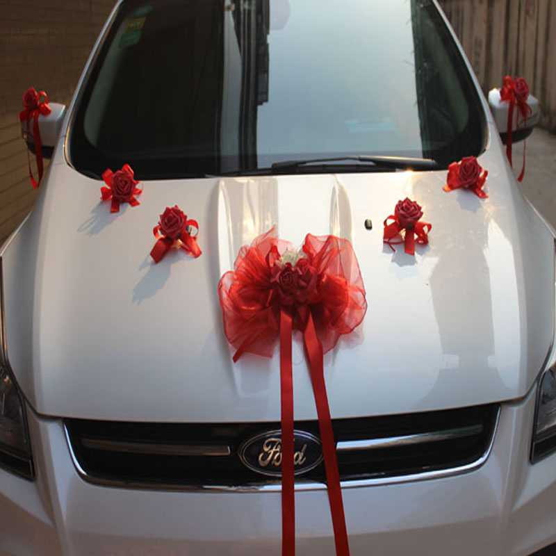 Wedding car side car decoration package Wedding wedding suit decorated with multi-colored bow simulation rose car