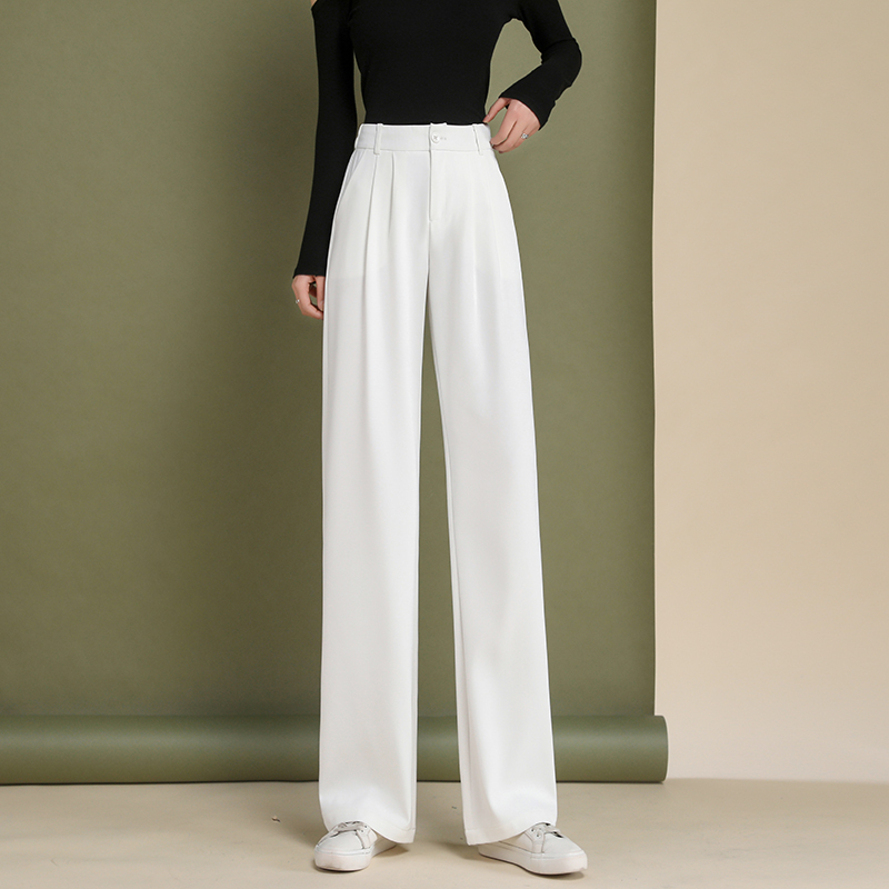 Small wide-legged trousers women high-waisted 2021 black thin drag nine-point pants summer thin suit pants