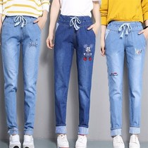 17 Spring and Autumn 12 girls dressed 14 loose Korean version of 13 children 16 junior high school students 15 years old 11 girls denim trousers.