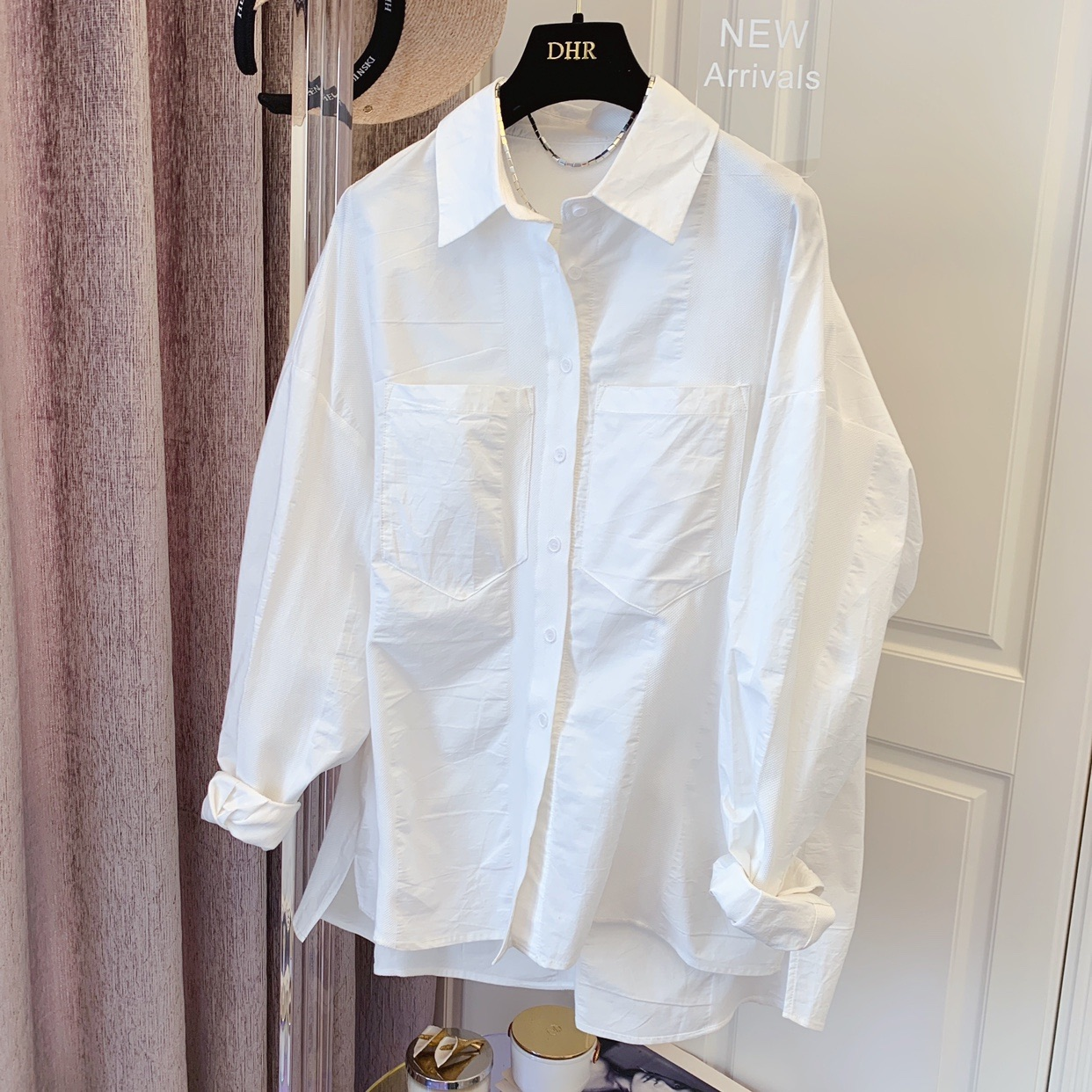 Japanese fabrics - dark texture temperament design sense minority Korean version loose cotton long-sleeved white shirt blouse 2021 to
