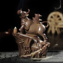 Ceramic cattle reflow incense oven incense creative ornaments flowing incense road home indoor sandalwood furnace jewelry to attract money sink furnace.